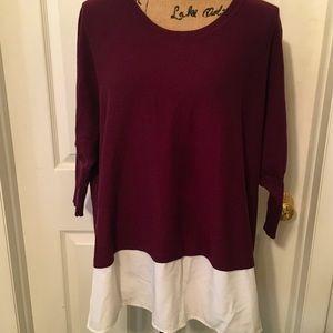 🌟EUC Style & Co Sweater Burgundy w/ Ivory Under